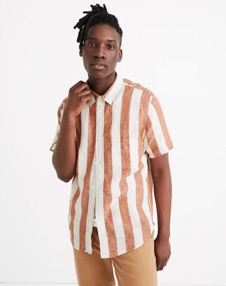 Madewell Linen Short-Sleeve Perfect Shirt in Watkins Stripe