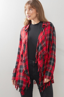 Willow & Clay Plaid Fringe Drape Jacket Red XS