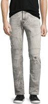True Religion Rocco Distressed Biker Skinny Jeans, Light Rail