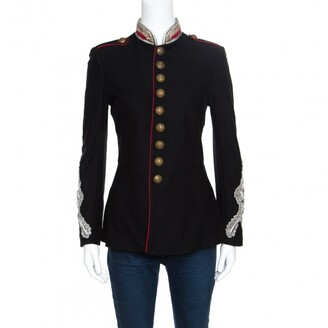 Ralph Lauren Black Cotton Twill Metallic Cord Embellished Military Jacket S