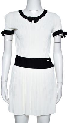 Chanel White Rib Knit Contrast Trim Detail Mini Dress S