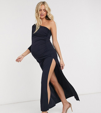 Jaded Rose Maternity exclusive one shoulder maxi dress with thigh split in navy
