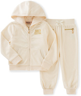 Juicy Couture White 'Juicy' Hoodie & Sweatpants - Infant Toddler & Girls
