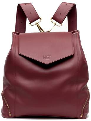Holly & Tanager The Professional Leather Backpack Purse In Burgundy
