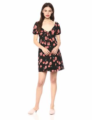 Jack by BB Dakota Womens Pretty in Poppies Printed CDC tie Front Dress