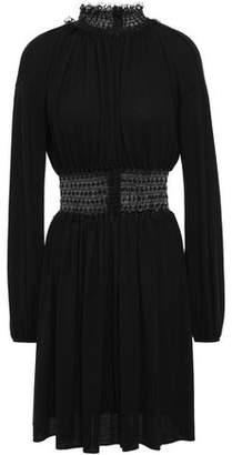 Giambattista Valli Point D'esprit-paneled Shirred Wool Mini Dress