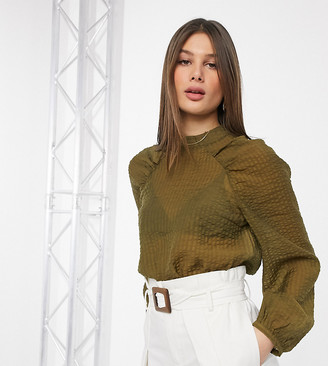 Vero Moda Tall seersucker top with volume sleeves in khaki-Green