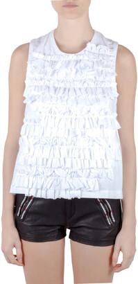 Commes Des Garcons Comme Des Garcon White Ruffle Cotton Back Open Buckle Detail Top M