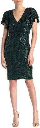 Marina Short Sleeve Wrap Sequin Dress