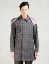 Undercover Charcoal Plaid Hooded Wool Blend Coat