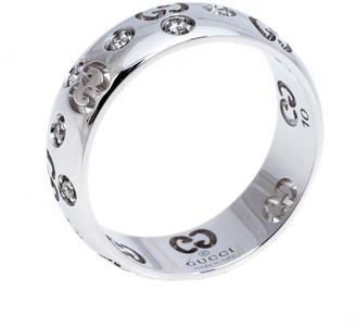 Gucci Icon Bold Diamond 18K White Gold Band Ring Size 50
