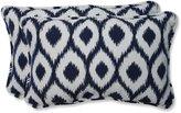 Pillow Perfect Rectangular Throw Pillow with Bella-Dura Shivali Navy/White Fabric, Set of 2