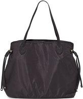 Neiman Marcus Montana Nylon Drawstring Tote Bag, Black