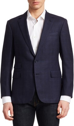 Ralph Lauren Purple Label Douglas Tonal Glen Plaid Single-Breasted Blazer