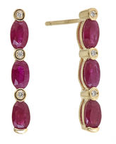 JCPenney FINE JEWELRY LIMITED QUANTITIES Lead Glass-Filled Ruby and Diamond-Accent Linear Earrings