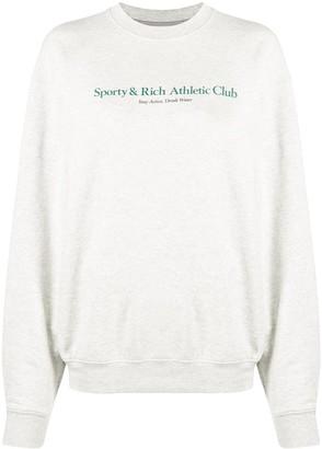 Sporty & Rich Logo Lettering Print Sweatshirt