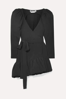 Rotate by Birger Christensen Asymmetric Crepe Wrap Mini Dress - Black