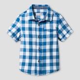 Cat & Jack Baby Boys' Checks Short Sleeve Woven Shirt Cat & Jack - Blue