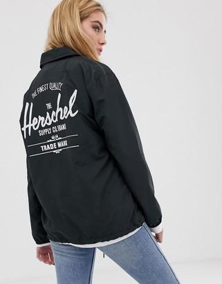 Herschel voyage packable coach jacket back logo print in black
