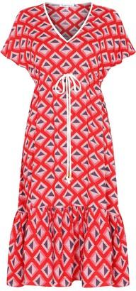 Libelula Midi Violet Dress Red Star Diamond Print