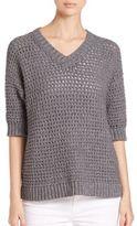 Lafayette 148 New York Eyelet-Stitch Cotton Sweater