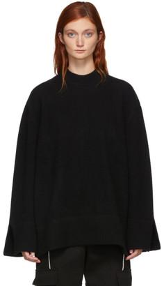 MAISON KITSUNÉ Black Zipped Sides Crewneck Sweater