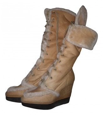 Sergio Rossi Camel Shearling Boots