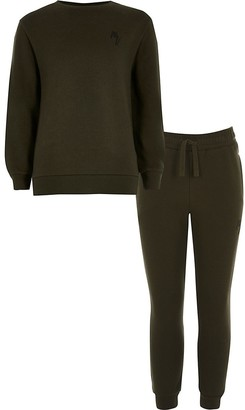 River Island Boys khaki Maison Riviera sweatshirt outfit
