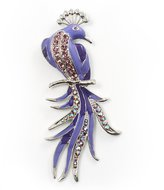 Avalaya Gigantic Enamel Peacock Fashion Brooch