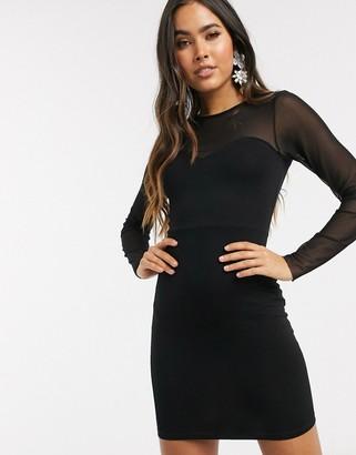 Asos Design DESIGN mesh yoke long sleeve cup detail mini dress in black