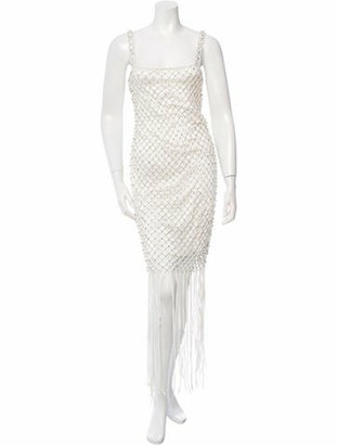 Adam Lippes Jewel-Embellished Fringe-Trimmed Dress White