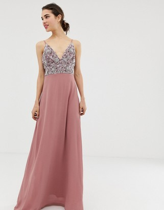 Angeleye AngelEye cami strap maxi dress with pleated skirt and embellished upper-Pink