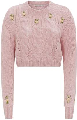 Alessandra Rich Crop Cable Knit Sweater