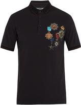 Dolce & Gabbana Medal-print cotton-piqué polo shirt