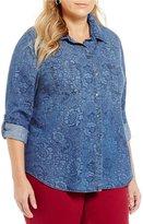 Allison Daley Plus Roll-Tab Sleeve Button Front Denim Shirt