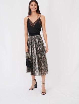 Maje Sequin pleated skirt