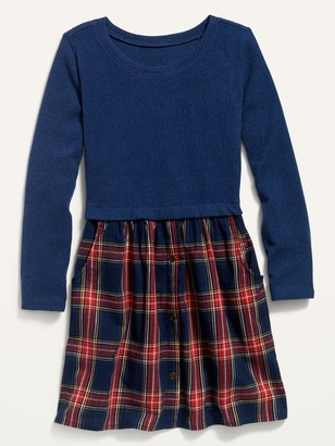 Old Navy Long-Sleeve Mixed Material Dress for Girls
