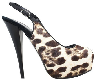 Giuseppe Zanotti Brown Pony Hair Animal Print Peep Toe Sandals Size 39