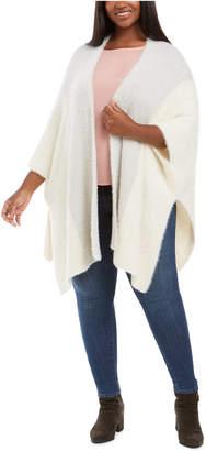 Belldini Plus Size Fuzzy-Knit Poncho