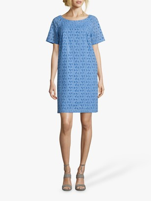 Betty Barclay Broderie Anglaise Cotton Dress, Ocean Blue