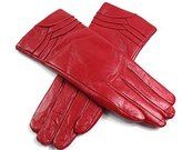 EMPORIUM LEATHER The Leather Emporium Women's Fur Lined Gloves Overlap Detail Winter Warm