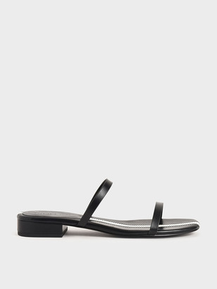 Charles & Keith Striped Double Strap Slide Sandals