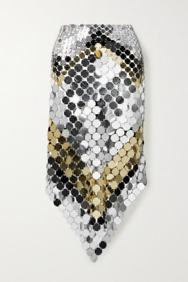 Paco Rabanne Asymmetric Paillette-embellished Chainmail Skirt - Silver