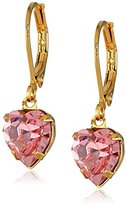 Swarovski 1928 Jewelry Gold-Tone Pink Genuine Crystal Heart Drop Earrings