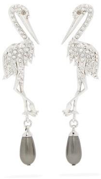 Erdem Faux-pearl And Crystal Crane Drop Earrings - Silver