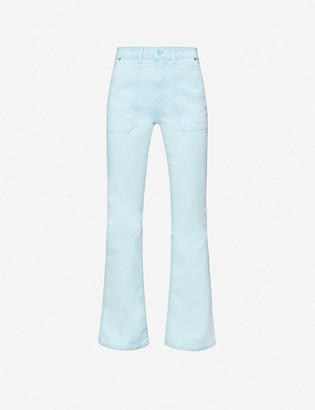 Benetton High-rise slim-fit flared stretch-cotton jeans