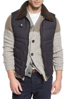 Brunello Cucinelli Quilted Vest w/Removable Shearling Collar