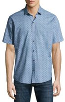 Zachary Prell Caringella Checkerboard Short-Sleeve Sport Shirt, Turquoise