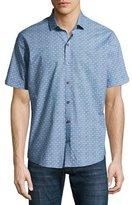 Zachary Prell Caringella Checkerboard Short-Sleeve Sport Shirt, Turquoise