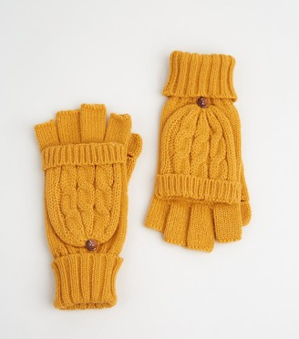 New Look Cable Knit Flip Top Gloves